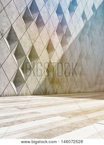 Architectural design of buildings made of concrete blocks. 3D illustration.