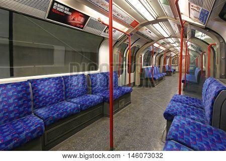 LONDON UNITED KINGDOM - JANUARY 26: Empty Underground Train in London on JANUARY 26 2013. Central Line Train Tube in London United Kingdom.