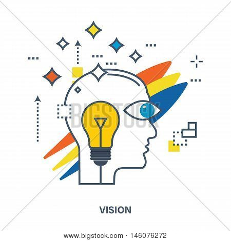 Concept of creative design and vision. Flat Vector illustration. Can be used for banner, business data, web design, brochure template.