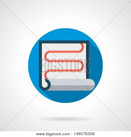 Symbol for rolled grid or film of infrared heated floor. Modern alternative materials and equipment for house heating system. Renovation and insulation works. Colored round flat design vector icon.