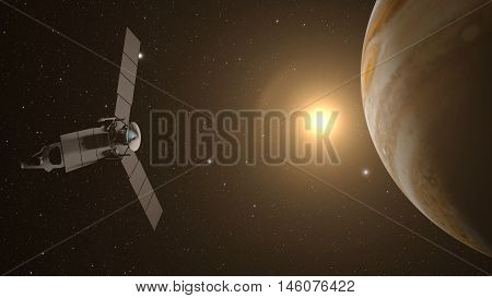 jupiter and satellite juno with space background, 3D rendering.