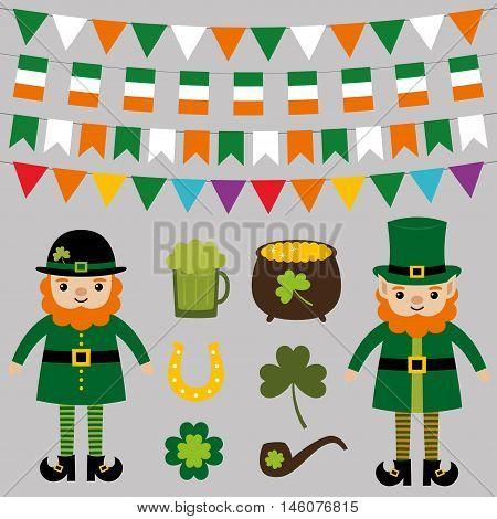 Set for St. Patrick's Day - leprechauns, decoration and design elements