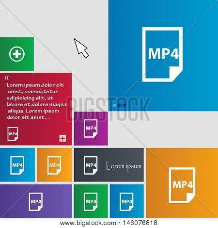 Mp4 Icon Sign. Buttons. Modern Interface Website Buttons With Cursor Pointer. Vector