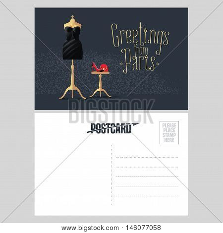 France Paris vector postcard design with little black dress. Template illustration element nonstandard vacation postcard with copyspace and Greetings from Paris sign