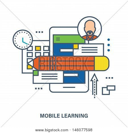 Concept of education, mobile learning. Color Line icons. Flat Vector illustration