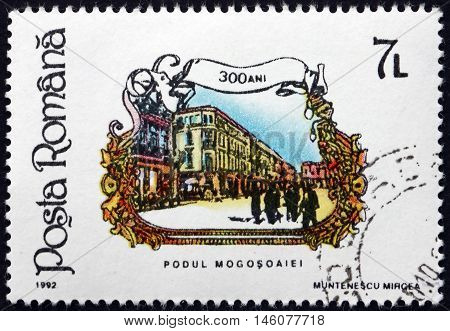 ROMANIA - CIRCA 1992: a stamp printed in Romania shows Building Galea Victoria St. 300th Anniversary circa 1992