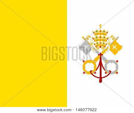Illustration of the national flag of the Vatican City also called Holy See