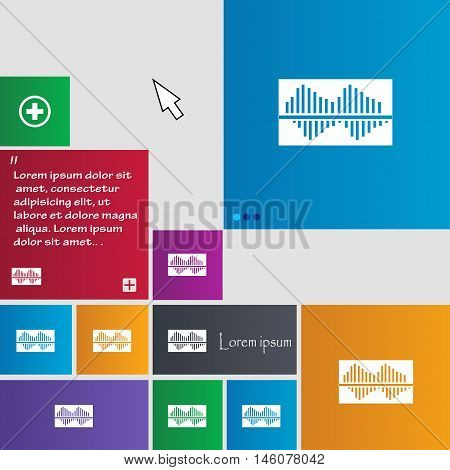 Equalizer Icon Sign. Buttons. Modern Interface Website Buttons With Cursor Pointer. Vector