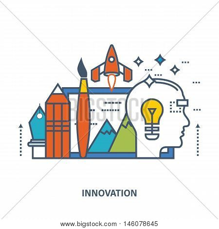 Concept of creative design, innovation and design training. Flat Vector illustration. Can be used for banner, business data, web design, brochure template.