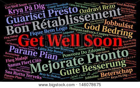 Get well soon word cloud in different languages