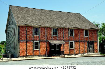 Lititz Pennsylvania - June 8 2015: 18th century fachwerk half-timbered brick meeting house church on Market Street