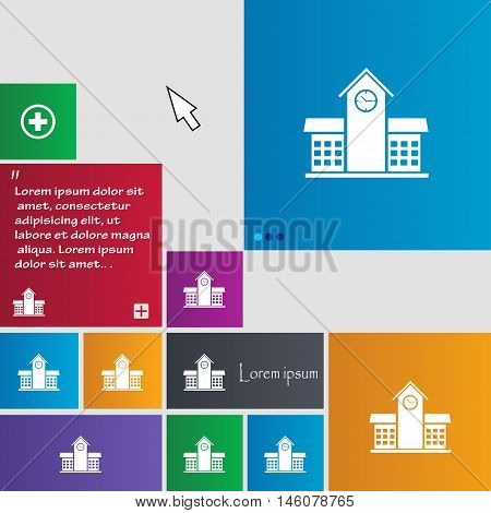 School Professional Icon Sign. Buttons. Modern Interface Website Buttons With Cursor Pointer. Vector