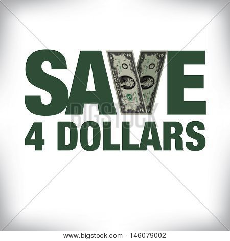 Save four dollars retail copy with white space for text