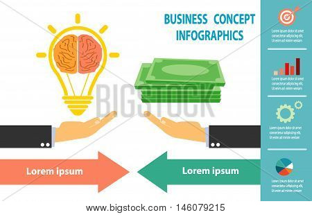 Businessmen exchange light bulb idea and money, business idea concept, infographics.