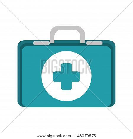 first aid kit suitcase healthcare equipment vector illustration