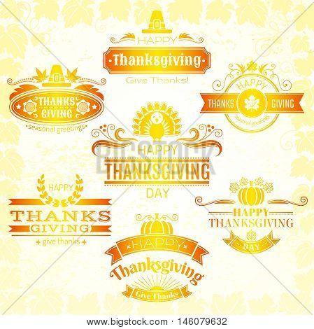 Vector illustration of happy thanksgiving logo icons set. Grunge background with holiday symbols - pumpkin, turkey, maple leaf, sunflower, pilgrim hat, sun, banners and swirls