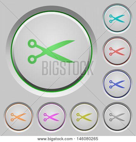 Set of color cut sunk push buttons.