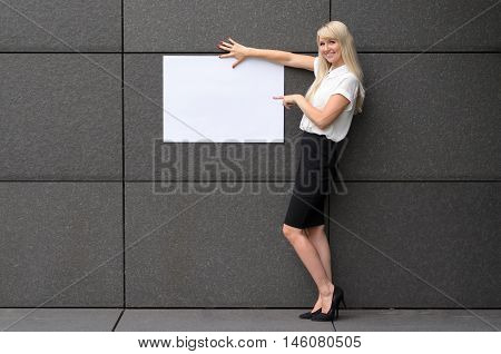 Friendly Businesswoman Displaying A Blank Sign