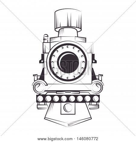 steam locomotive rail transport vehicle silhouette vector illustration