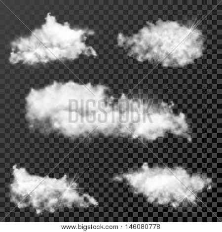 Set of realistic transparent clouds, sunny weather cloudscape on checkered background. Vector illustration