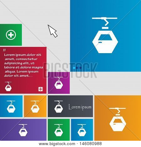 Cableway Cabin Icon Sign. Buttons. Modern Interface Website Buttons With Cursor Pointer. Vector