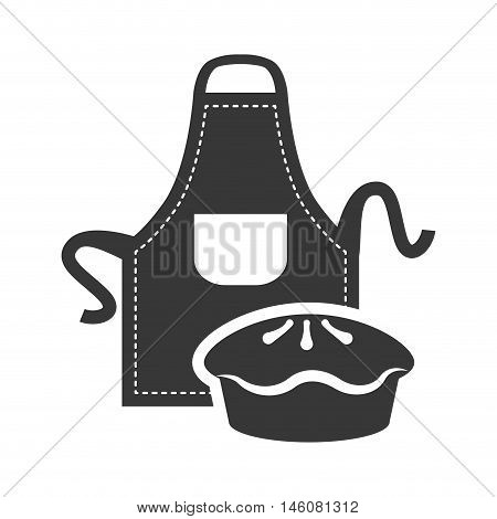 Apron and pie icon. Bakery food and shop theme. Isolated design. Vector illustration