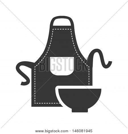 Apron and bowl icon. Bakery food and shop theme. Isolated design. Vector illustration