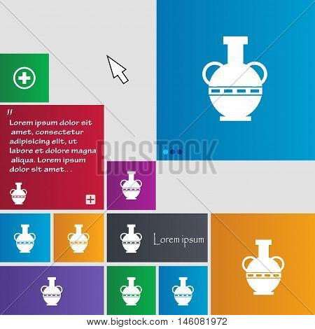 Amphora Icon Sign. Buttons. Modern Interface Website Buttons With Cursor Pointer. Vector