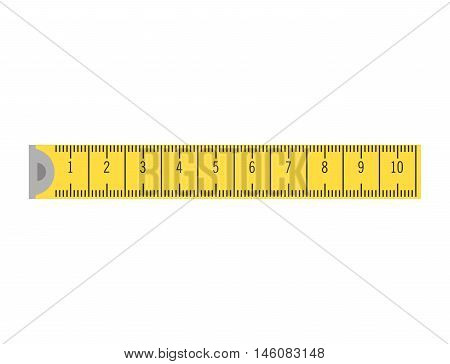 yellow tape measure. ruler precision instrument vector illustration