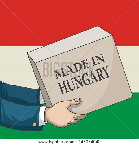 Cartoon, hand drawn human hands, holding a box, with made in Hungary sign, and a flag background, vector illustration