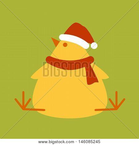 chick in santa hat vector illustration style Flat