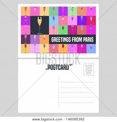 France Paris vector postcard design with glass of champagne. Template double side illustration element nonstandard mail postcard with blank copyspace stamp and Greetings from Paris sign