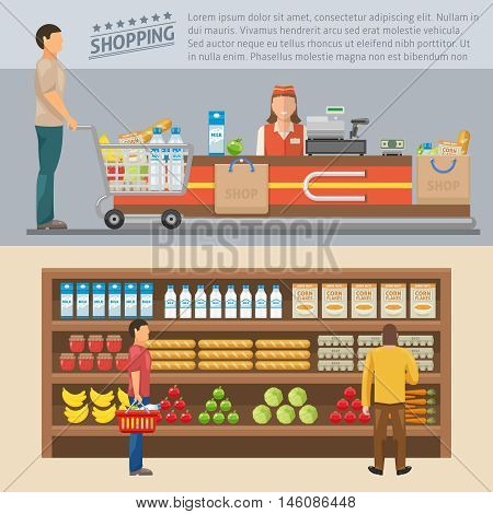 Shopping colored concepts with man at cash desk and consumers near shelves with goods isolated vector illustration