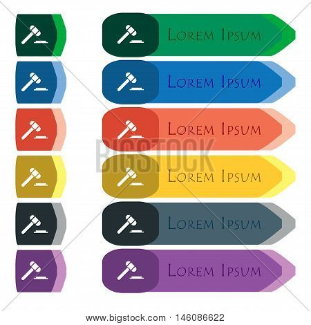 Judge Or Auction Hammer Icon Sign. Set Of Colorful, Bright Long Buttons With Additional Small Module