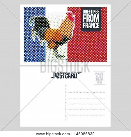 France vector postcard design with French symbol rooster. Template illustration, element, nonstandard mail postcard with copyspace, post office stamp and Greetings from France sign