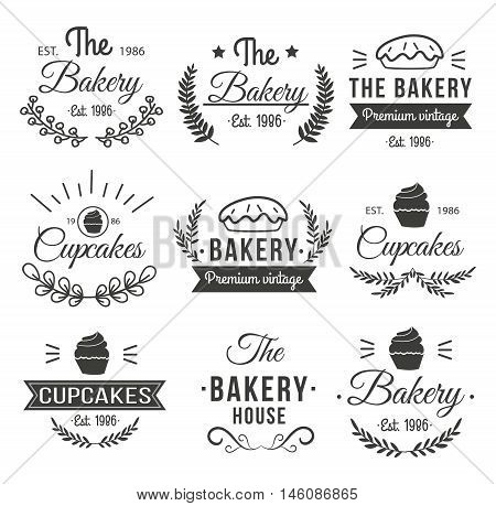 Black hand drawn cupcakes label set with the bakery premium vintage cupcakes and different descriptions vector illustration