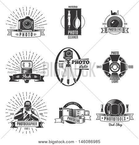Black isolated vintage photographer label set with best camera workshop photocleaner photolens descriptions vector illustration