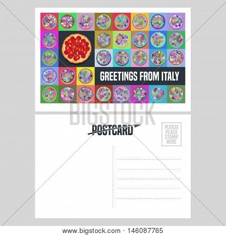 Italy, Rome vector postcard design with Italian pizza. Template double side illustration, element, nonstandard mail postcard with blank copyspace, stamp and Greetings from Italy sign