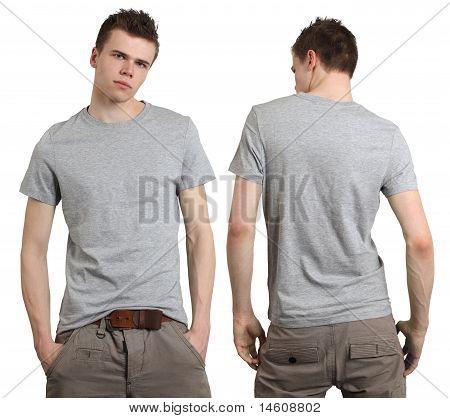 Male Wearing Blank Gray Shirt