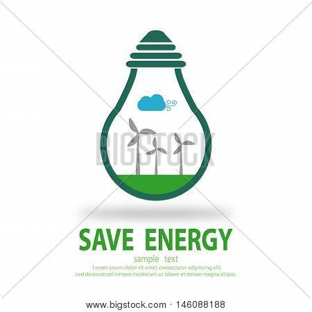 Bulb light with wind turbine inside, Eco green energy, save energy , Save the World, Vector Illustration