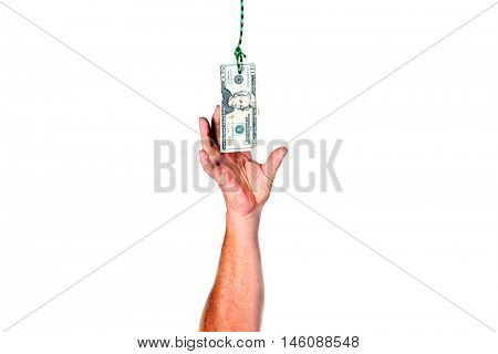 Windfall of money or Money from Heaven. A man grabs money as it falls from the sky.