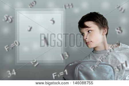 formulas. Fibonacci. boy with school backpack on the background of mathematical