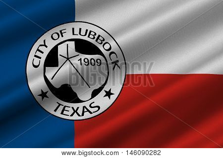 Flag of Lubbock in Texas United States. 3D illustration