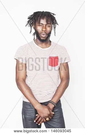 young handsome afro american boy stylish hipster gesturing emotional isolated on white background smiling goofy, lifestyle people concept