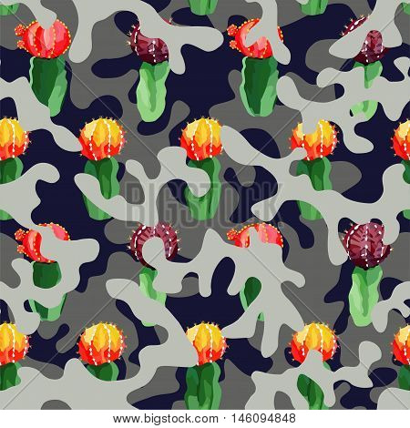 Trendy camouflage illustration hand drawn watercolor cactus on military background khaki in blue gray color camo seamless vector pattern