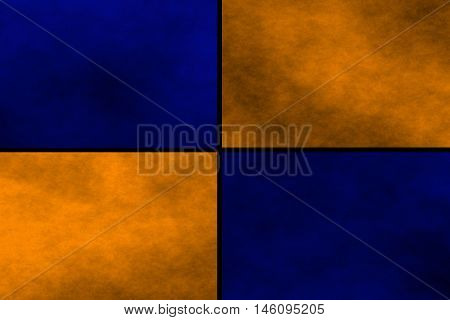 Black background with blue and orange rectangles