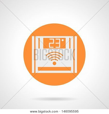 Abstract white silhouette sign of warm floor remote controller. Panel with 23 degree - comfortable temperature. Underfloor heating system. Orange round flat style vector icon.