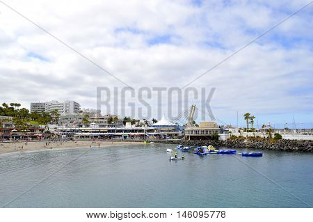 Torviscas beach Tenerife Canary Islands Spain Europe - June 15 2016: Torviscas a coastal town in Costa Adeje Tenerife
