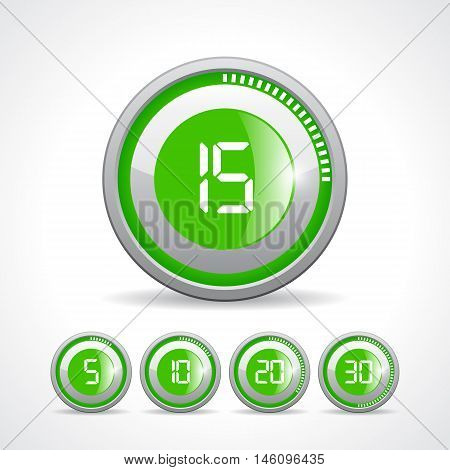 Vector green timer icon set vector illustration isolated on white background