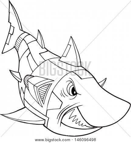 Robot Shark Vector Illustration Art